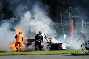 #5 360 Racing Ligier JS P3 Nissan: John Corbett, Andreas Laskaratos, James Winslow on fire