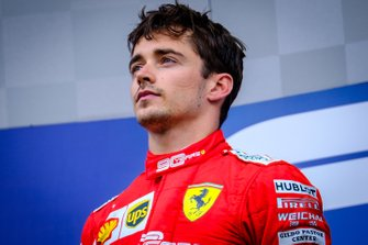 Podium : le vainqueur Charles Leclerc, Ferrari