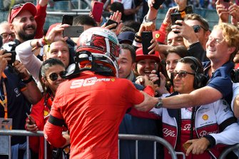 Race winner Charles Leclerc, Ferrari, celebrates with his manager Nicolas Todt in Parc Ferme