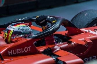 Race winner Sebastian Vettel, Ferrari SF90, celebrates on arrival in Parc Ferme