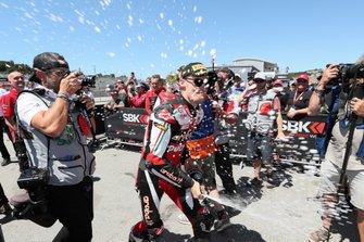 Chaz Davies, Aruba.it Racing-Ducati Team celebrates