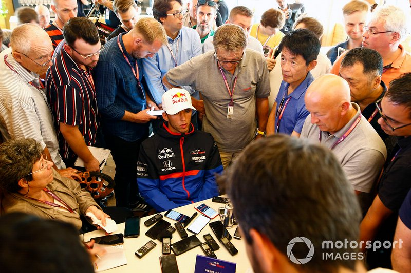 Pierre Gasly, Toro Rosso, is grilled by media