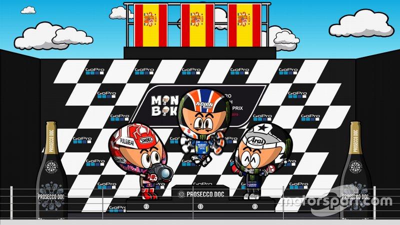 El podio del GP de Gran Bretaña de MotoGP 2019, por MiniBikers