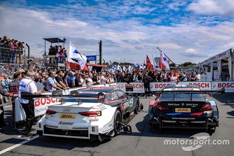 Parc ferme, Mike Rockenfeller, Audi Sport Team Phoenix, Audi RS 5 DTM, Bruno Spengler, BMW Team RMG, BMW M4 DTM