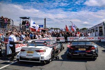 Mike Rockenfeller, Audi Sport Team Phoenix, Audi RS 5 DTM, Bruno Spengler, BMW Team RMG, BMW M4 DTM, nel parco chiuso