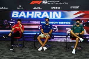 Charles Leclerc, Ferrari, George Russell, Williams, and Lance Stroll, Aston Martin, in the press conference