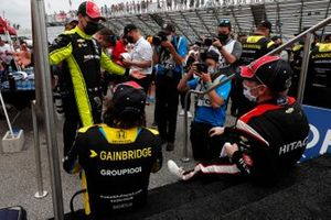 Josef Newgarden, Team Penske Chevrolet, Colton Herta, Andretti Autosport Honda, Simon Pagenaud, Team Penske Chevrolet celebrate in victory lane