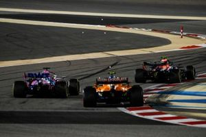 Alex Albon, Red Bull Racing RB16, Sergio Perez, Racing Point RP20, and Lando Norris, McLaren MCL35