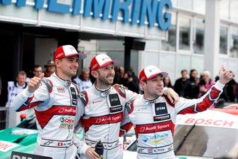 Race winnaar René Rast, Audi Sport Team Rosberg, Nico Müller, Audi Sport Team Abt Sportsline, Robin Frijns, Audi Sport Team Abt Sportsline