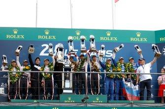 Podium: Race winner #8 Toyota Gazoo Racing Toyota TS050: Sébastien Buemi, Kazuki Nakajima, Fernando Alonso, second place #7 Toyota Gazoo Racing Toyota TS050: Mike Conway, Kamui Kobayashi, Jose Maria Lopez, third place #11 SMP Racing BR Engineering BR1: Mikhail Aleshin, Vitaly Petrov, Stoffel Vandoorne