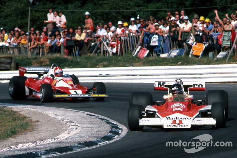 Niki Lauda, Ferrari y James Hunt, McLaren