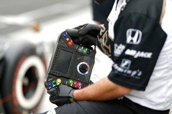 Jordan King, Rahal Letterman Lanigan Racing Honda, steering wheel