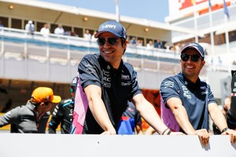 Lance Stroll, Racing Point, and Sergio Perez, Racing Point, in the drivers parade