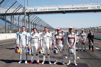 Alle oud-kampioenen, Paul Di Resta, R-Motorsport, Bruno Spengler, BMW Team RMG, Marco Wittmann, BMW Team RMG, Mike Rockenfeller, Audi Sport Team Phoenix, René Rast, Audi Sport Team Rosberg