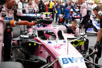 Lance Stroll, Racing Point RP19, arrives on the grid