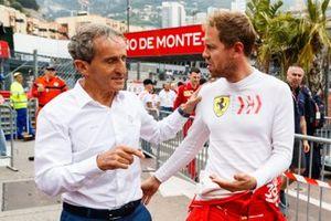 Alain Prost, Renault F1 Team, with Sebastian Vettel, Ferrari