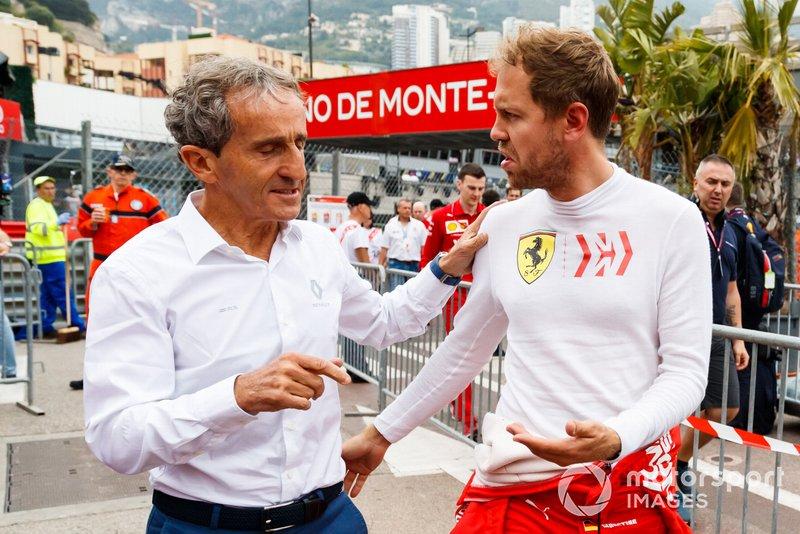 Alain Prost, Renault F1 Team, con Sebastian Vettel, Ferrari
