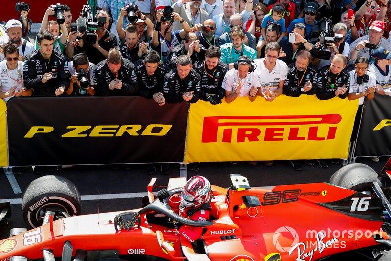 Charles Leclerc, Ferrari, terza posizione, arriva al Parc Ferme