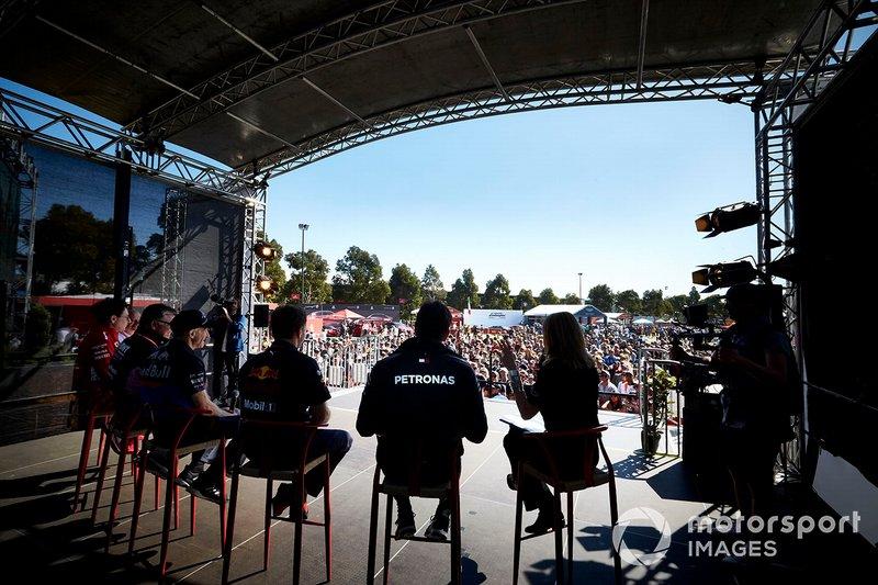 Toto Wolff, Executive Director (Business), Mercedes AMG, Christian Horner, Team Principal, Red Bull Racing, Franz Tost, Team Principal, Toro Rosso, Otmar Szafnauer, Chief Operating Officer, Racing Point, Mattia Binotto, Team Principal Ferrari, and Frederic Vasseur, Team Principal, Alfa Romeo Racing, on stage