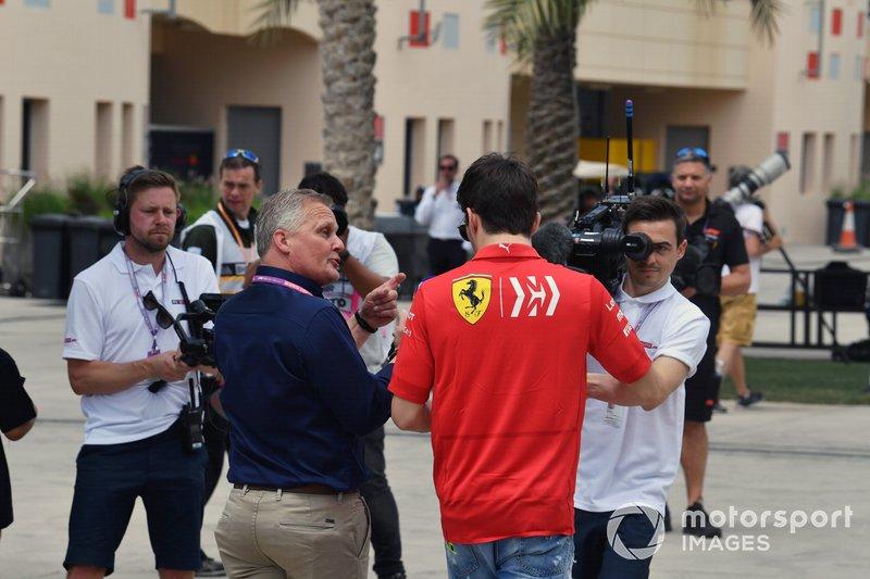 El poleman Charles Leclerc, Ferrari, entrevistado por Johnny Herbert, Sky Sports F1