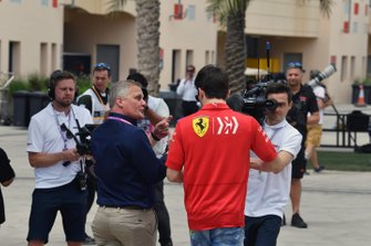 Pole man Charles Leclerc, Ferrari, is interviewed by Johnny Herbert, Sky Sports F1