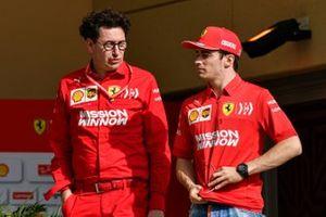 Mattia Binotto, Team Principal Ferrari, with Charles Leclerc, Ferrari