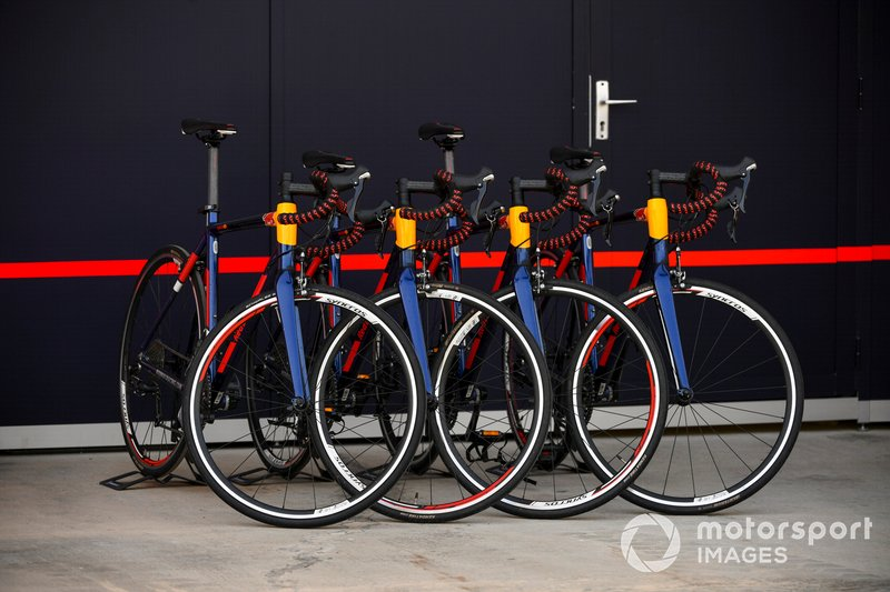 Bikes outside of Red Bull Racing