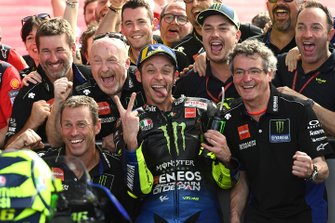 Second place Valentino Rossi, Yamaha Factory Racing celebrates in parc ferme