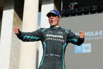 Mitch Evans, Panasonic Jaguar Racing, 1st position, celebrates