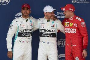Top three qualifiers Lewis Hamilton, Mercedes AMG F1, pole man Valtteri Bottas, Mercedes AMG F1, and Sebastian Vettel, Ferrari