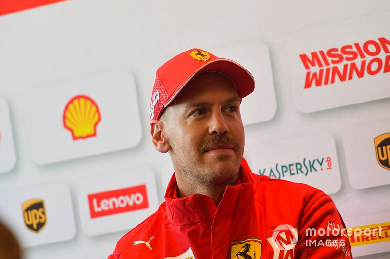 Sebastian Vettel, Ferrari speaks with the media