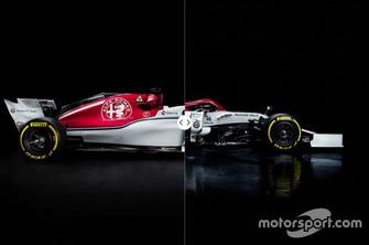 Sauber C37 vs. Alfa Romeo C38 comparison
