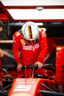 Sebastian Vettel, Ferrari getting into his Ferrari SF90