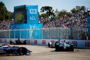 Oliver Rowland, Nissan e.Dams, Nissan IMO1 Felipe Massa, Venturi Formula E, Venturi VFE05 andMitch Evans, Jaguar Racing, Jaguar I-Type 3