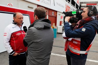 Frederic Vasseur, Alfa Romeo Racing, Team Principal talks with the media