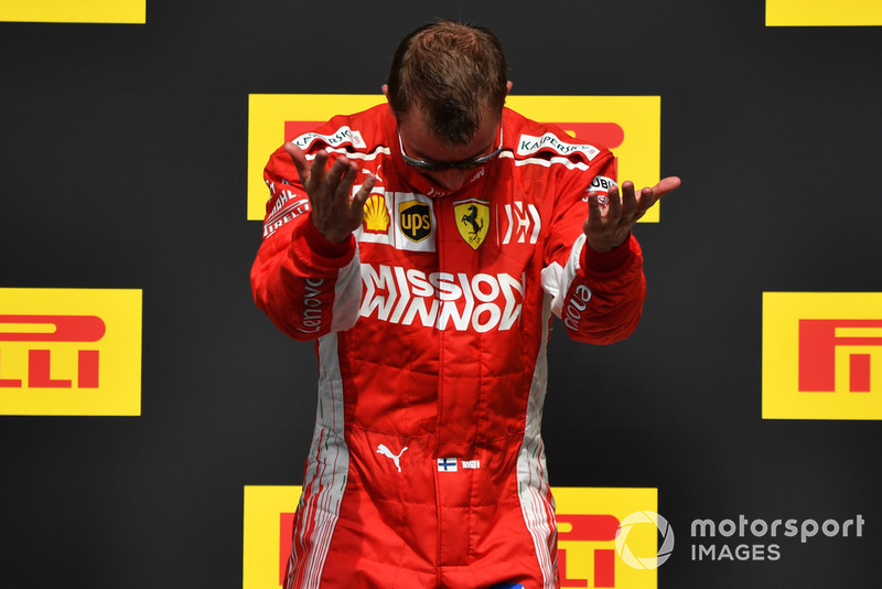 Kimi Raikkonen, Ferrari celebrates on the podium