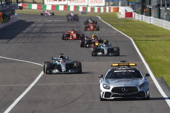 Safety Car leads Lewis Hamilton, Mercedes AMG F1 W09, leads Valtteri Bottas, Mercedes AMG F1 W09 and Max Verstappen, Red Bull Racing RB14