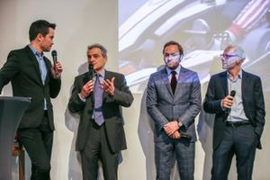 Serge Saulnier, Director of Circuit Magny-Cours, Jacques Villeneuve, co-founder of Feed racing, Patrick Lemarie, co-founder of Feed racing