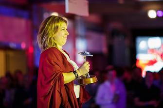 PREMA team member collects award Zak Mauger