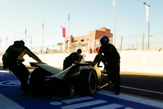 Jean-Eric Vergne, DS TECHEETAH, DS E-Tense FE19, is returned to his garage