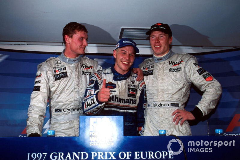 Press conference: David Coulthard, McLaren, Worldchampion Jacques Villeneuve, Williams, Race winner Mika Hakkinen, McLaren