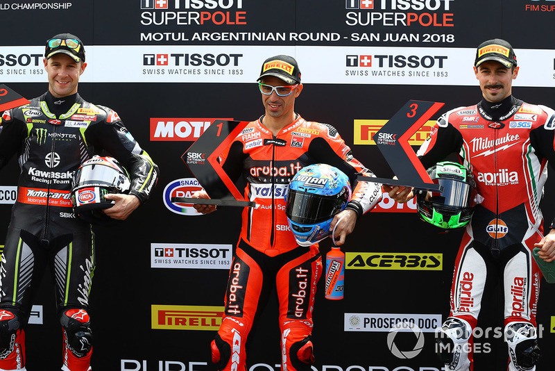 Superpole: second place Jonathan Rea, polesitter Marco Melandri, third place Eugene Laverty