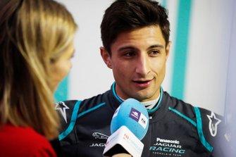 Mitch Evans, Panasonic Jaguar Racing is interviewed by TV Presenter Nicki Shields