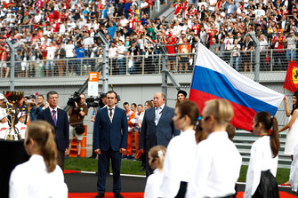 Russian dignitaries including Dimitry Kozak, Deputy Prime Minister of Russia, and Viktor Kiryanov, Head of State Motor Vehicle Inspectorate of Ministry of Internal Affairs, on the grid