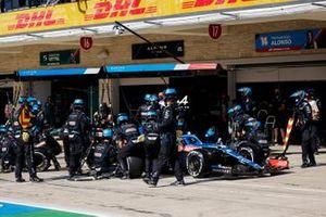 Fernando Alonso, Alpine A521, makes a stop