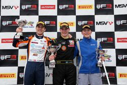 Podium: second place Nicolai Kjaergaard, Carlin, Race winner Linus Lundqvist, Double R, third place Billy Monger, Carlin