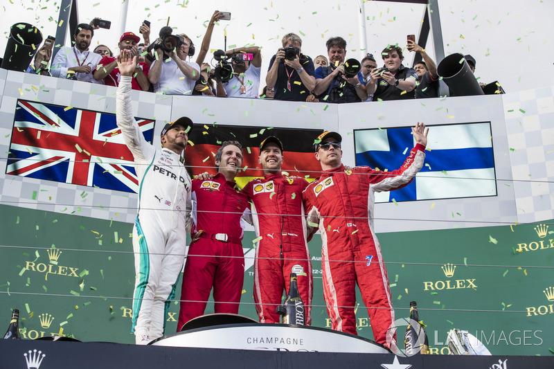 1. GP Australia - Podium: Sebastian Vettel, Lewis Hamilton, Kimi Raikkonen