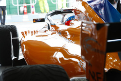 Fernando Alonso, McLaren MCL33 Renault, dans son garage