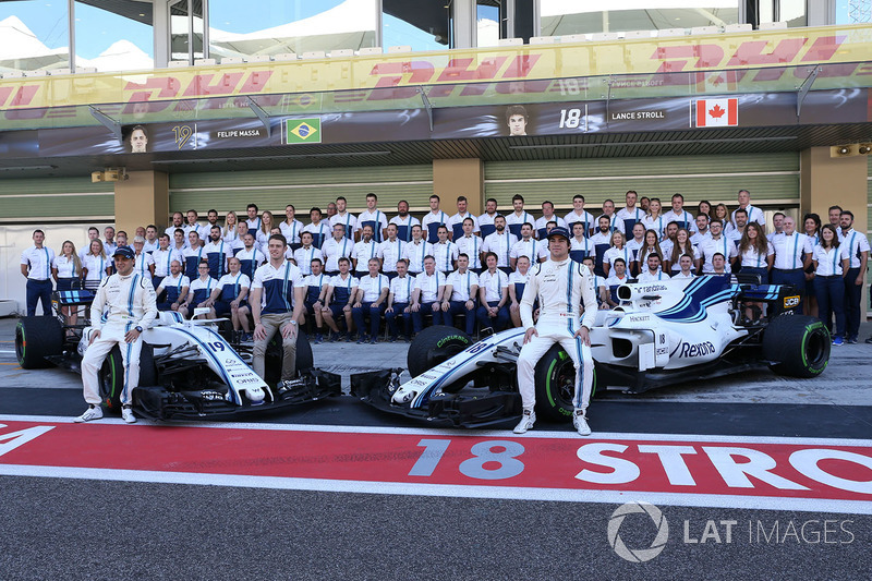 Felipe Massa, Williams, Paul di Resta, Williams y Lance Stroll, Williams en la foto de equipo Williams