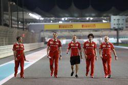 Sebastian Vettel, Ferrari walks the track, Riccardo Adami, Ferrari Race Engineer and Jock Clear, Ferrari Chief Engineer